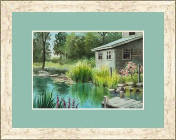 Lily Pad Cottage Watercolor - Giclee Print