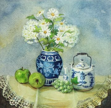 Blue Porcelain Miniature Watercolor - Giclee Print