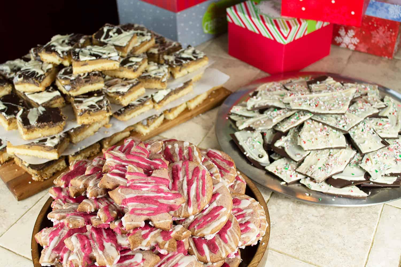 Christmas Cookies - Millionaire Shortbread Bars, Raspberry Sugar Cookies, and Peppermint Bark